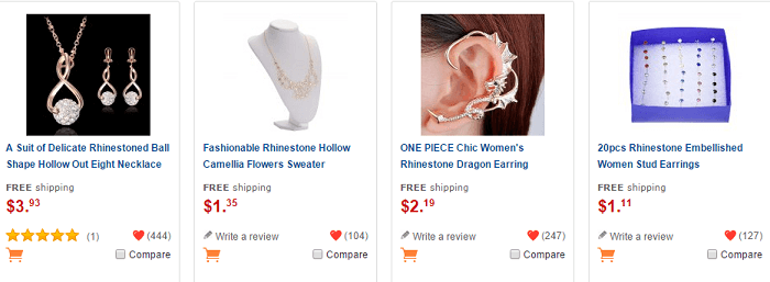 Discounted jewellery at GearBest