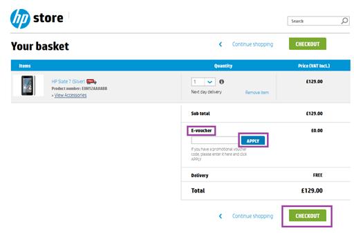 Hewlett Packard checkout