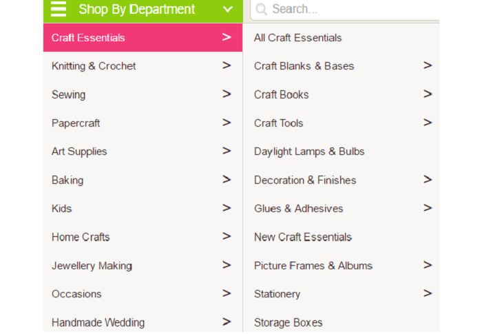 Hobbycraft categories