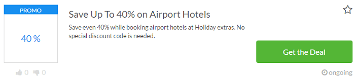 Holiday extras voucher