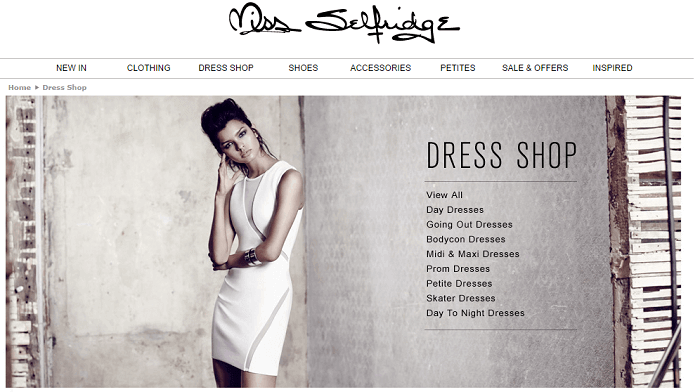 Miss Selfridge online store