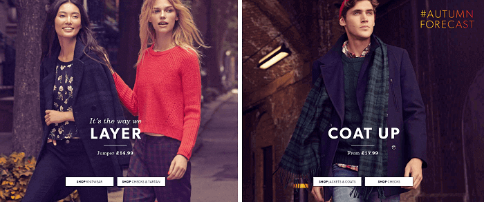 collection for women and men at New Look