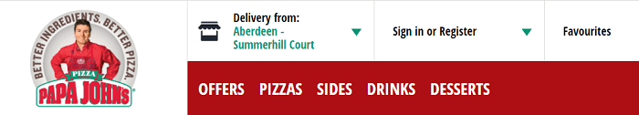 Papa Johns website