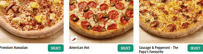 Papa Johns pizzas