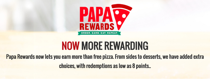 Papa Johns rewards