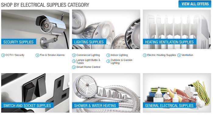 RS Electrical Supplies website