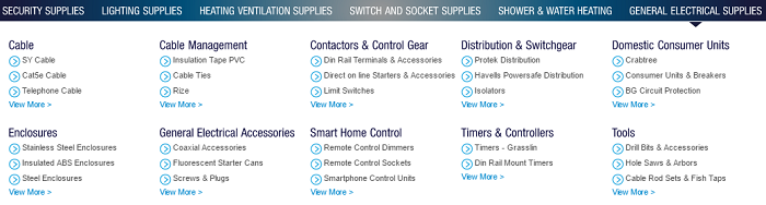 RS Electrical Supplies categories