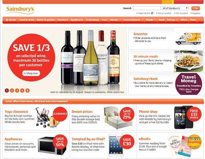 Sainsbury's website