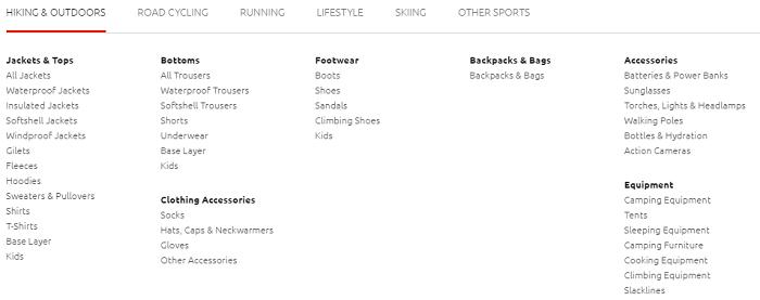 Sportpursuit categories
