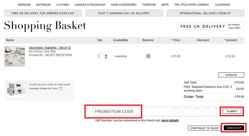 The White Company promotion code box
