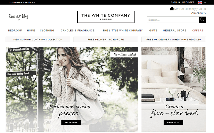 The white company online store