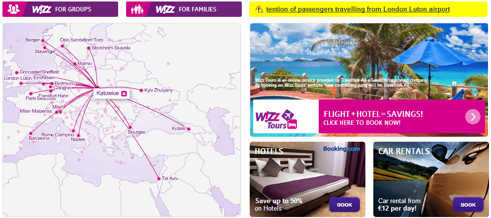 Wizzair website