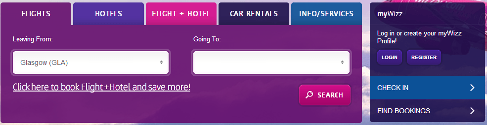 Wizzair booking