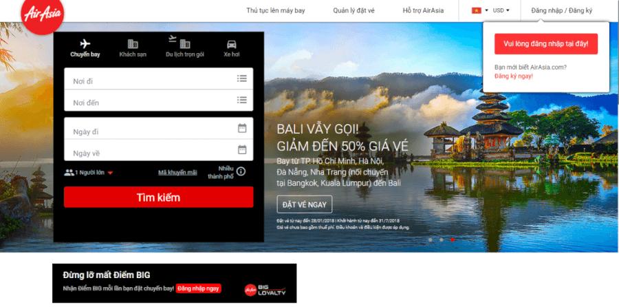 Đặt vé trực tuyến trên Airasia.com.