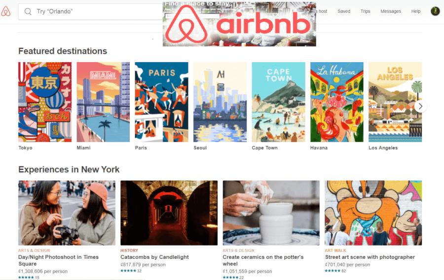 Các điểm đến nổi bật trên Airbnb.