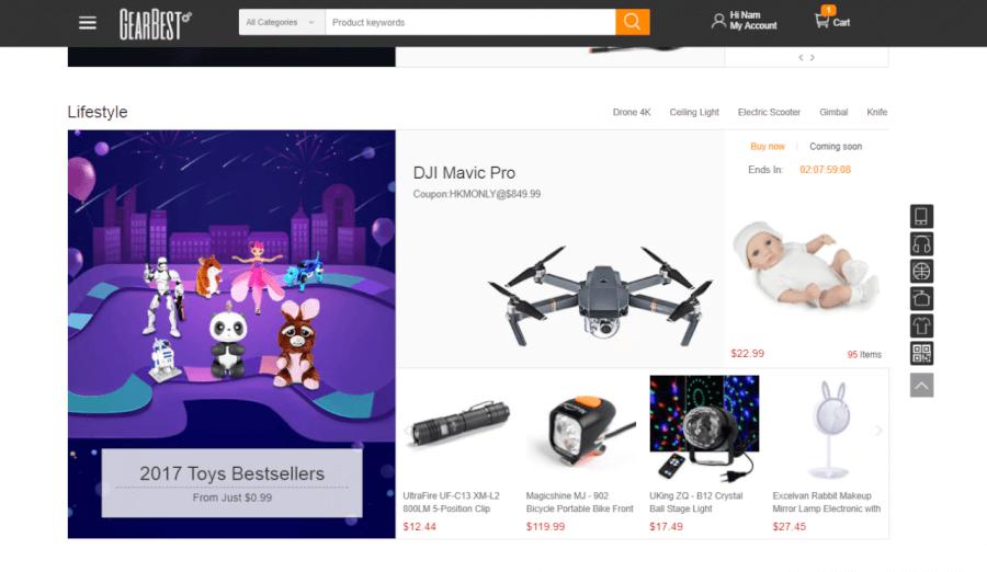 Danh mục hàng điện tử trên GearBest.