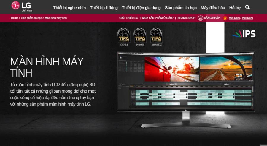 Sản phẩm màn hình máy tính của LG.