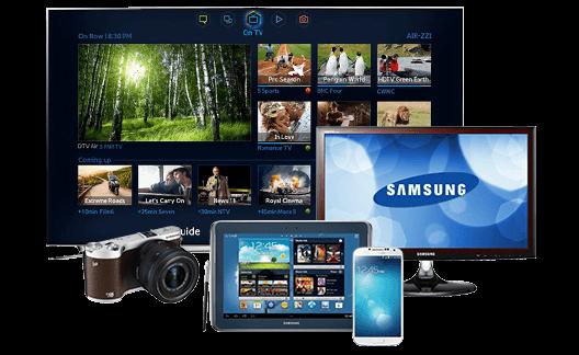 Samsung với đa dạng các sản phẩm điện tử.