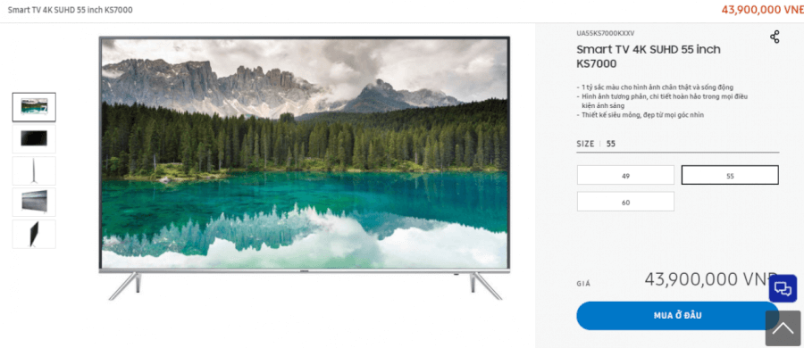 Siêu phẩm Smart TV 4K SUHD 55 inch KS7000.