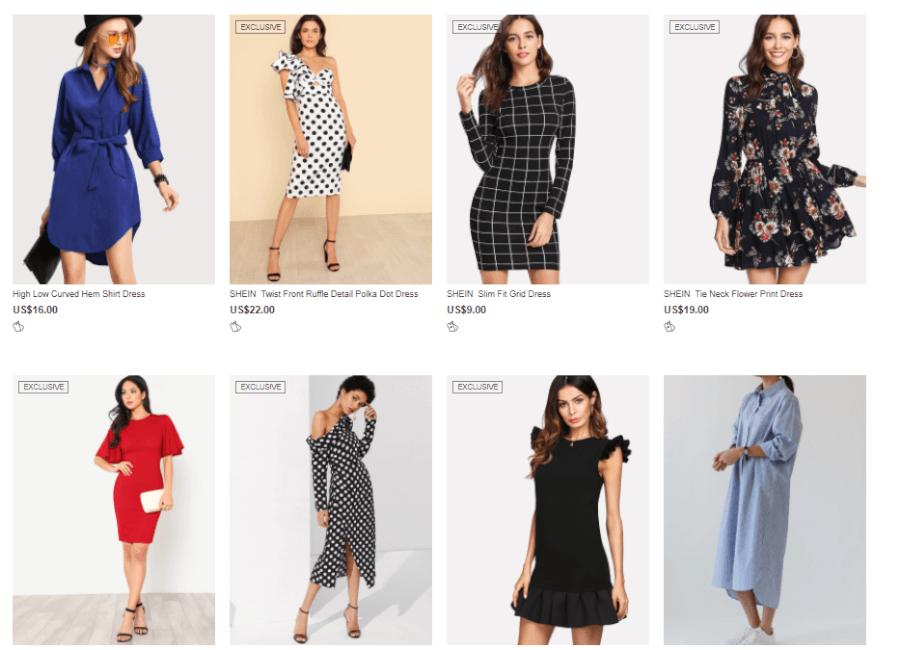 Một số mẫu váy trên shein.com.