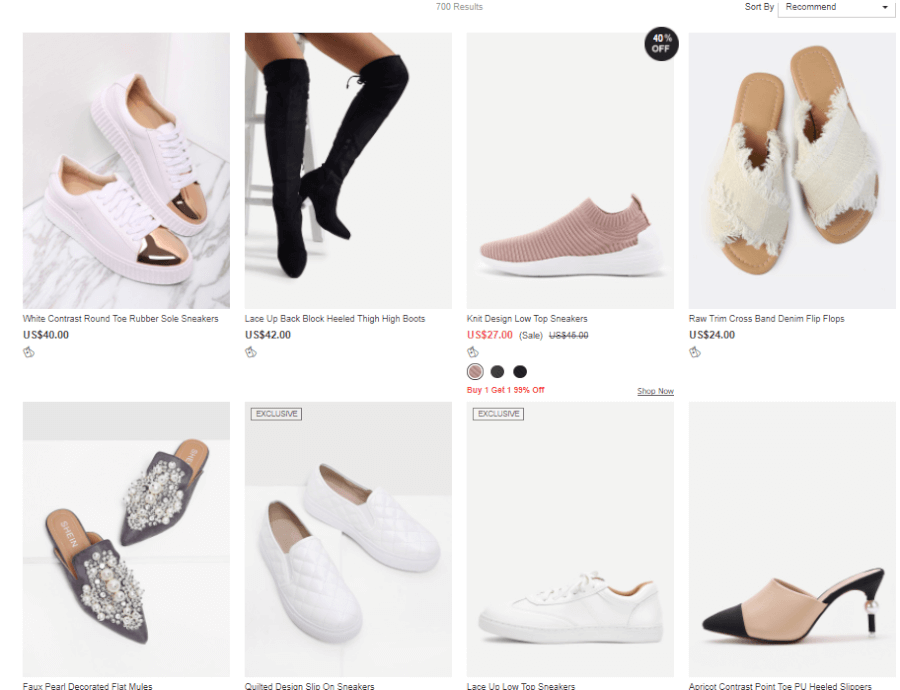 Một số mặt hàng phụ kiện thời trang trên shein.com.