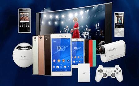 Sony với đa dạng các loại sản phẩm công nghệ.