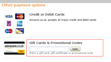 here you can enter your Amazon promo code