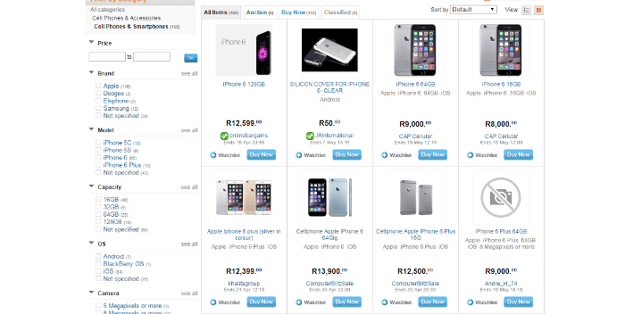 ZA Bid or Buy mobile phones