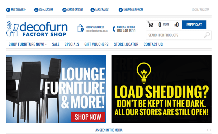 Decofurn homepage