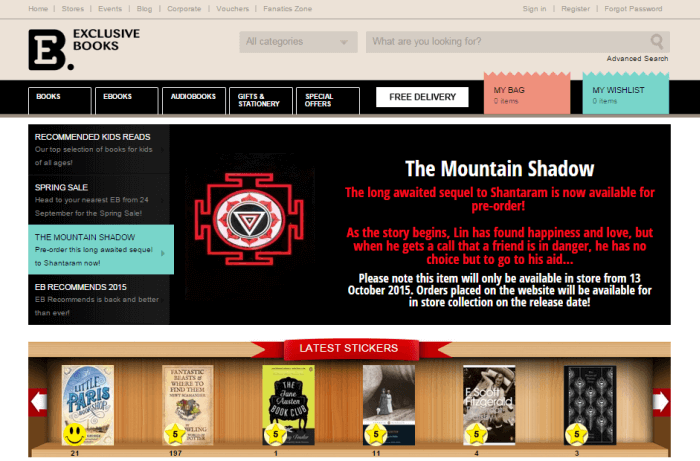Exclusive books home page