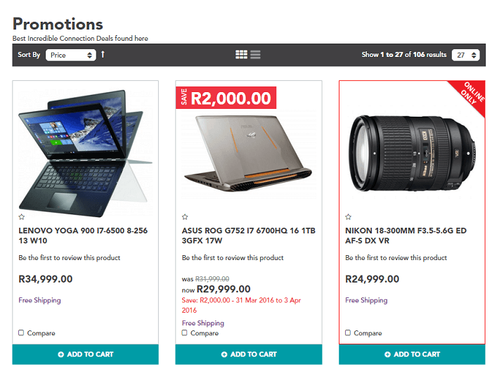 ZA Incredible promotions