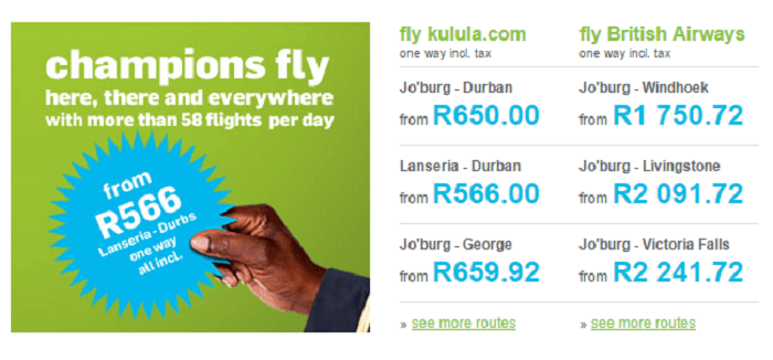 ZA Kulula special offers