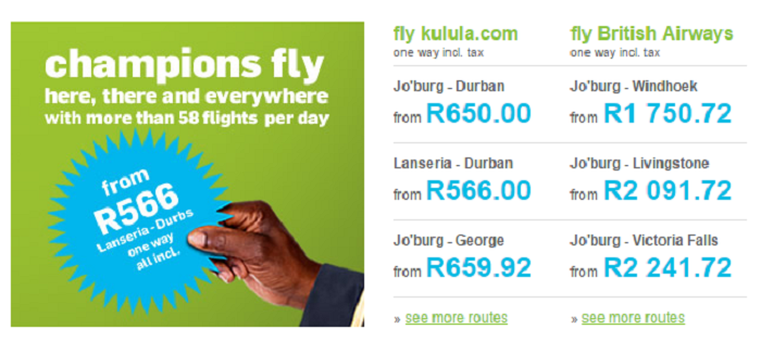 ZA Kulula special offers
