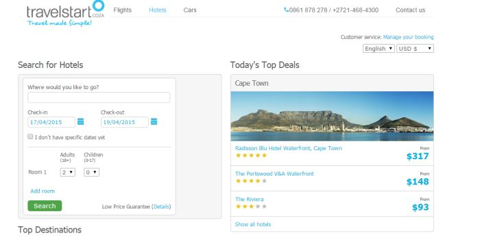 ZA Travelstart hotel deals